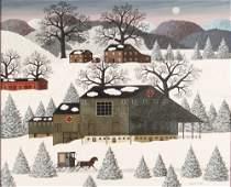 Charles Wysocki painting Amish Sleighride #2