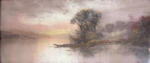 1: Foggy Evening Lake Pastel Drawing