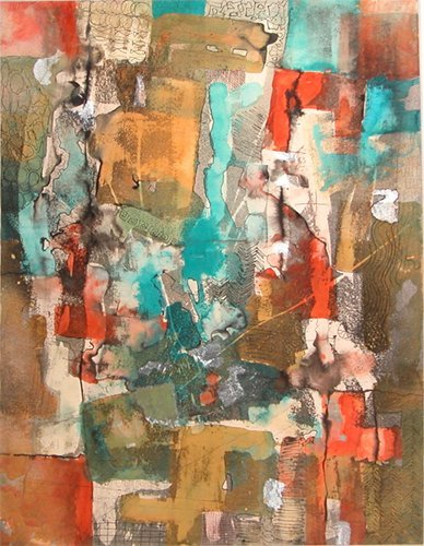 6: Jerry Allison Composition 64, watercolor and mixed m