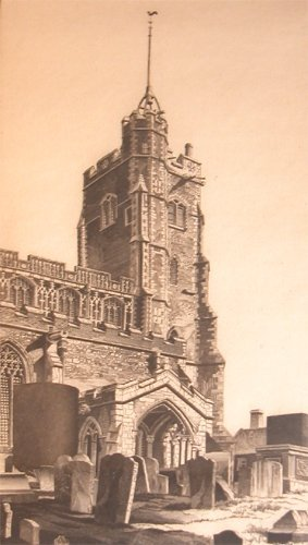 15: John Taylor Arms Cavendish Church etching 1944