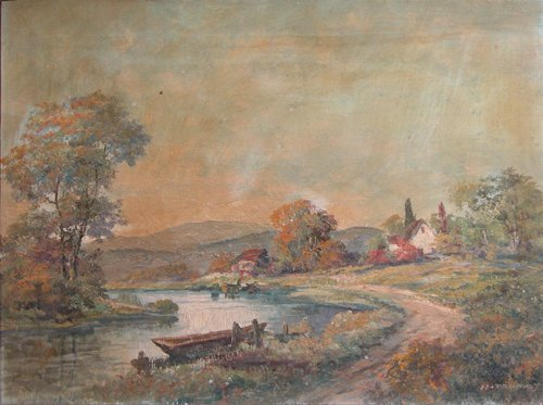 194: H. Tournay landscape painting Cottage by Stream