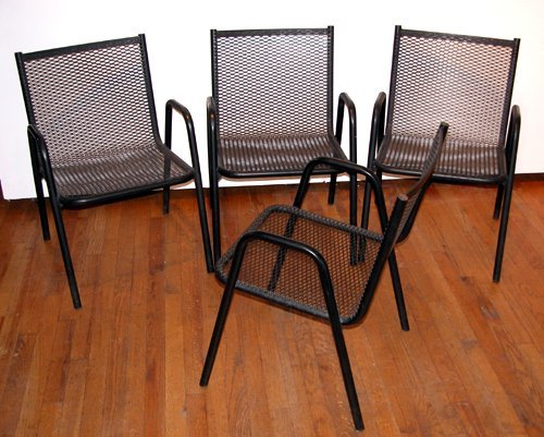 366: Four Vintage Stacking Wire Mesh Patio Chairs