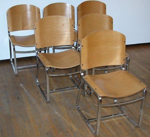 381: 6 Thonet Chrome/Plywood Chairs