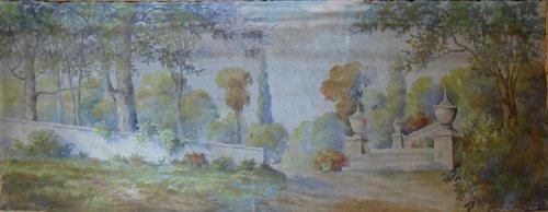 436: Painted Canvas Theater Backdrop Garden Landscape