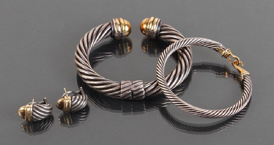 Two David Yurman Sterling and 14K Gold Bracelets and