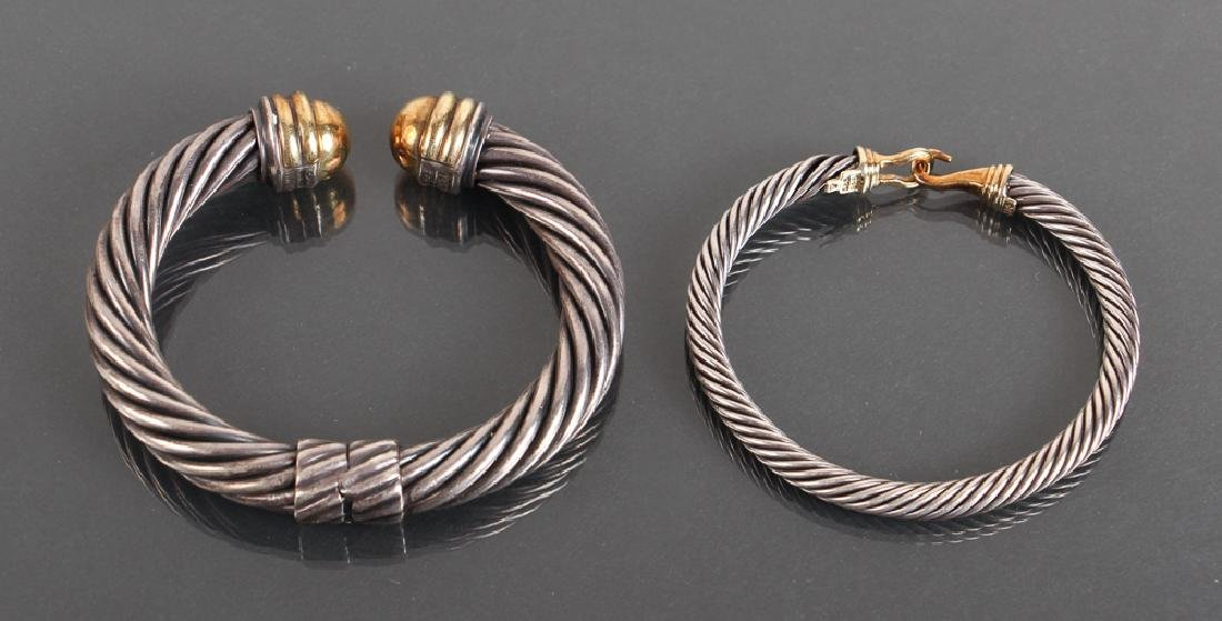 Two David Yurman Sterling and 14K Gold Bracelets and - 2