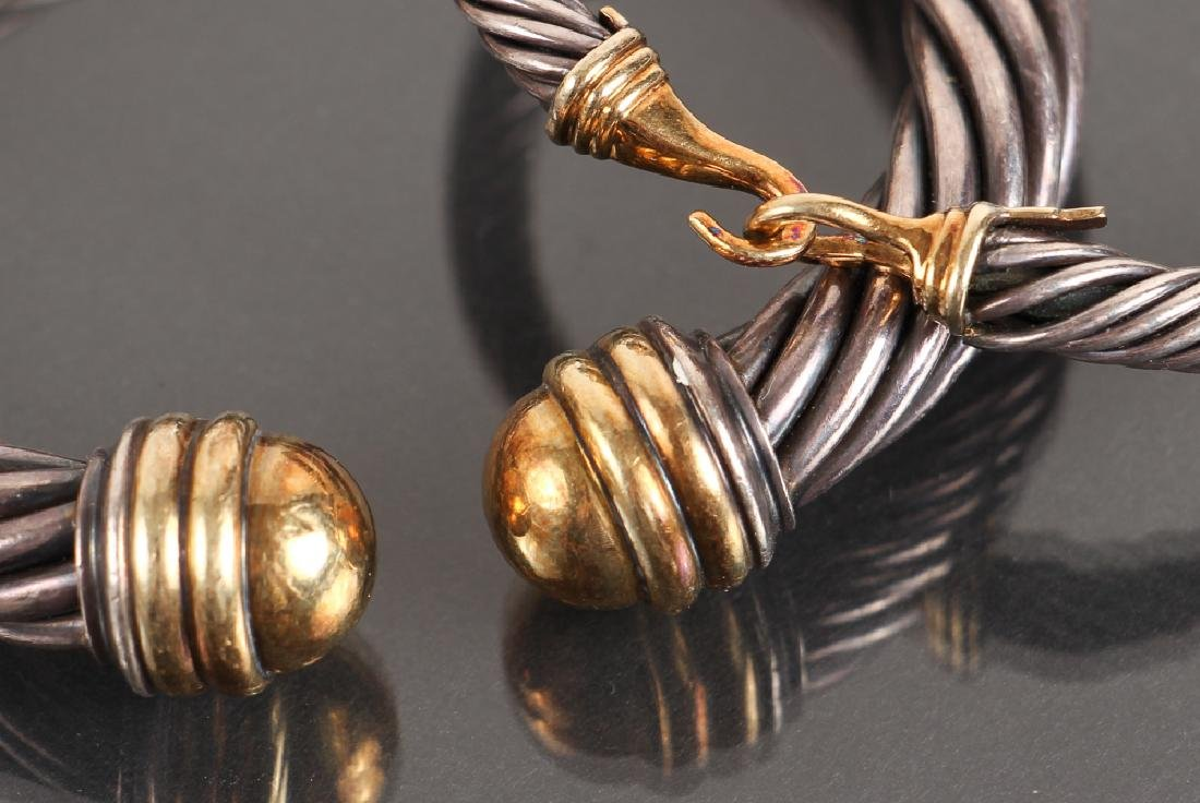 Two David Yurman Sterling and 14K Gold Bracelets and - 3