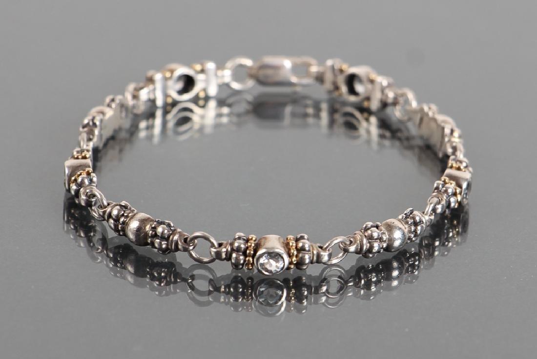 Legos Caviar Sterling and Aquamarine Bracelet