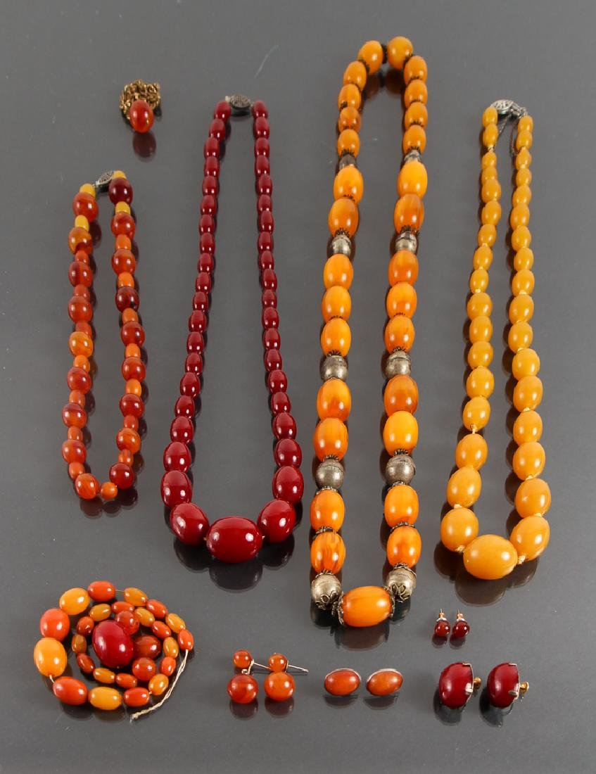 Five Amber Polished Bead Necklaces