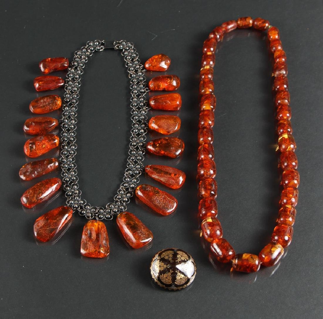 Two Baltic Amber Necklaces and Silver Inlaid Pin