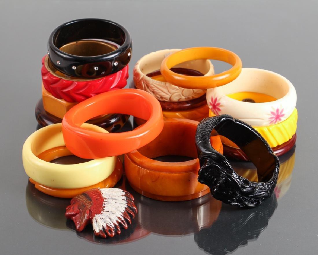 Large Group Bakelite, Lucite, Plastic Bracelets and