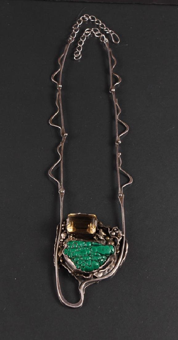 Don Marksz Sterling Citrine and Malachite Necklace