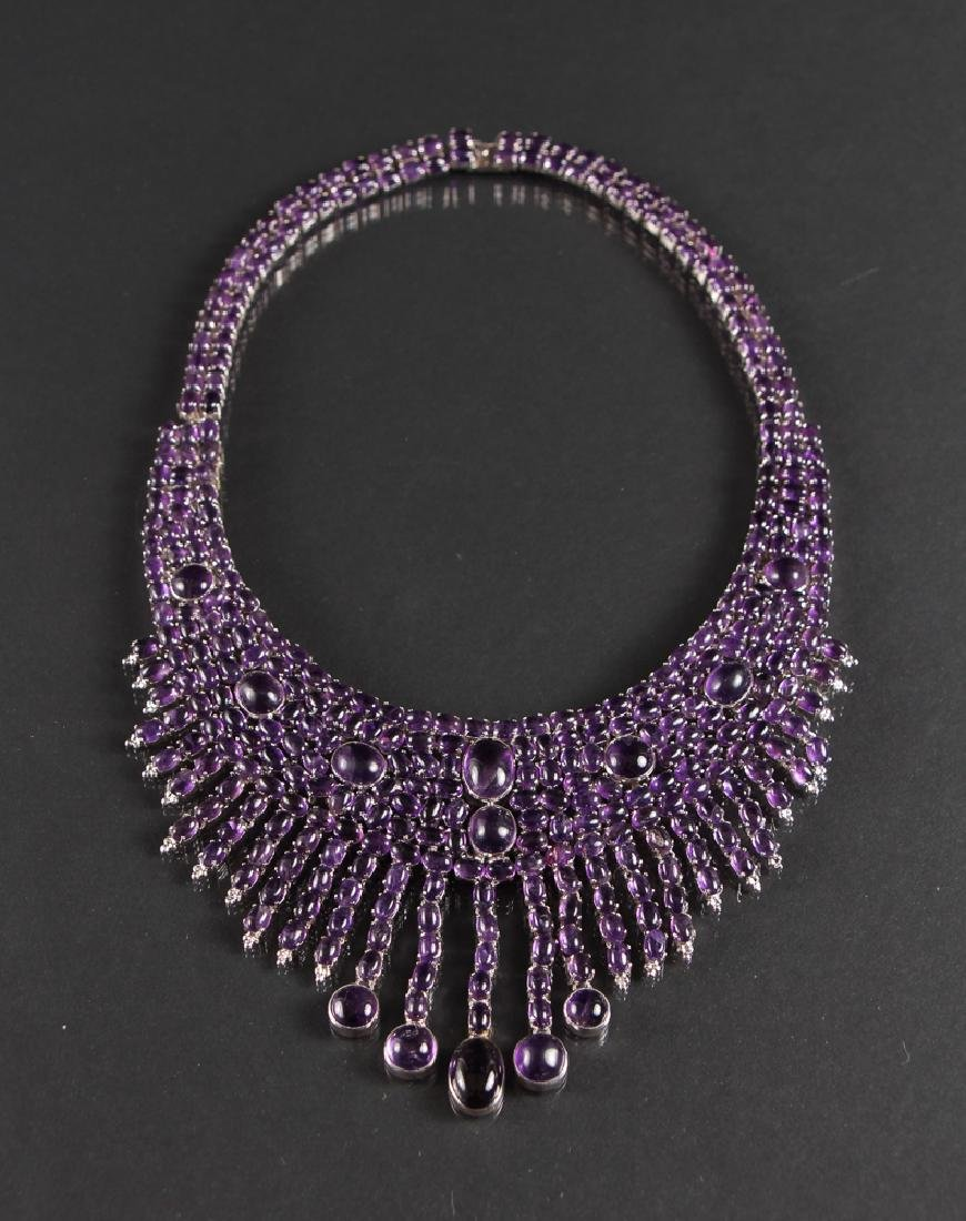 Amethyst and Sterling Cleopatra Style Necklace