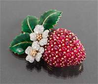 Oscar Heyman Diamond and Ruby Strawberry Brooch