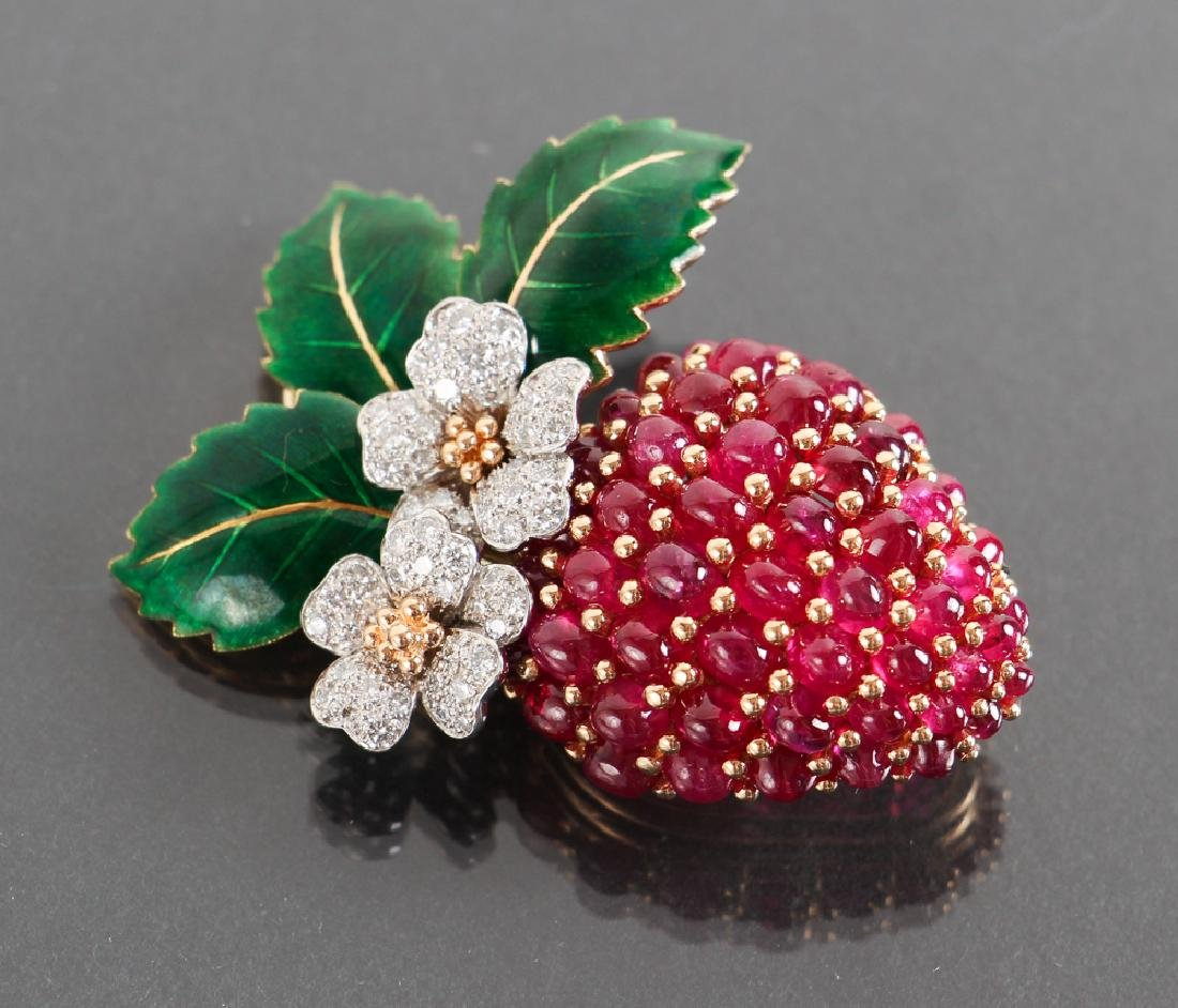 Oscar Heyman Diamond and Ruby Strawberry Brooch