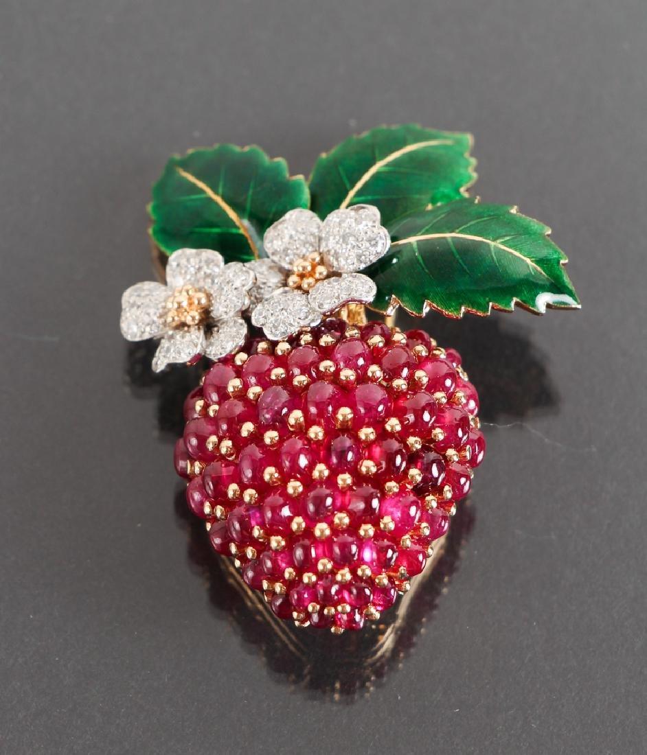 Oscar Heyman Diamond and Ruby Strawberry Brooch - 2