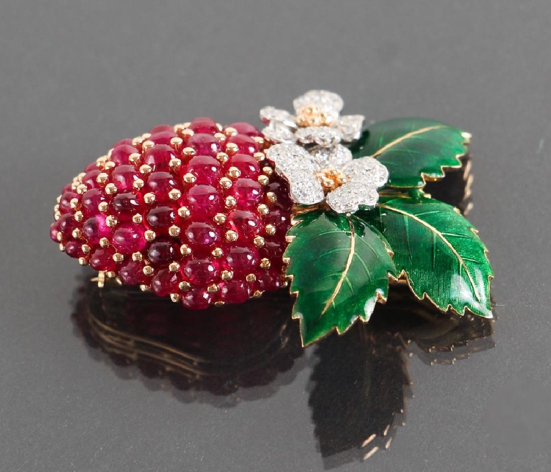 Oscar Heyman Diamond and Ruby Strawberry Brooch - 3