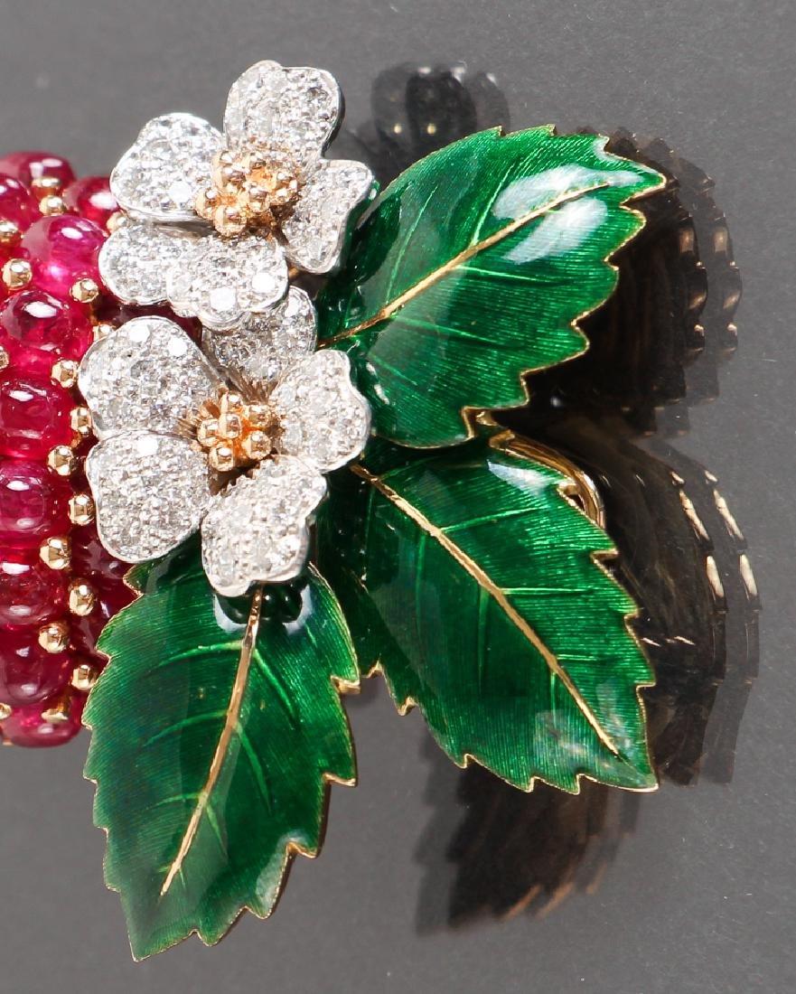 Oscar Heyman Diamond and Ruby Strawberry Brooch - 4