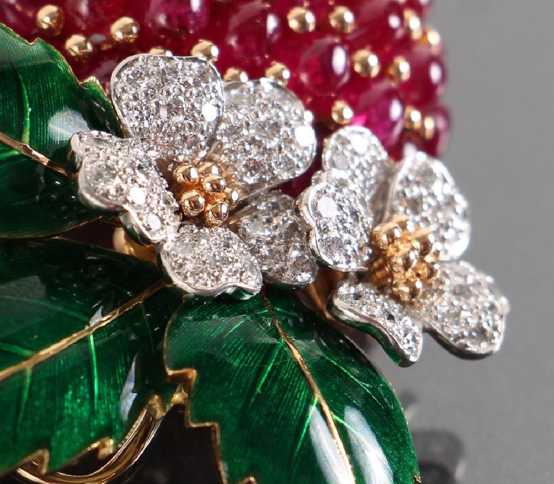 Oscar Heyman Diamond and Ruby Strawberry Brooch - 5