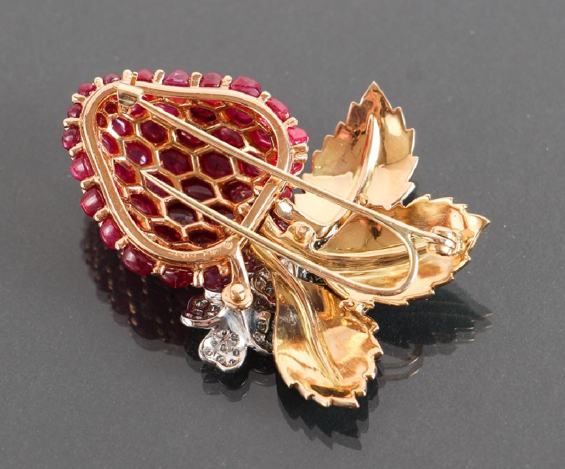 Oscar Heyman Diamond and Ruby Strawberry Brooch - 6
