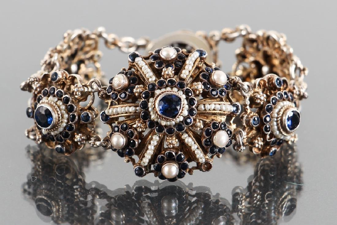 Austro Hungarian Sapphire and Pearl Bracelet