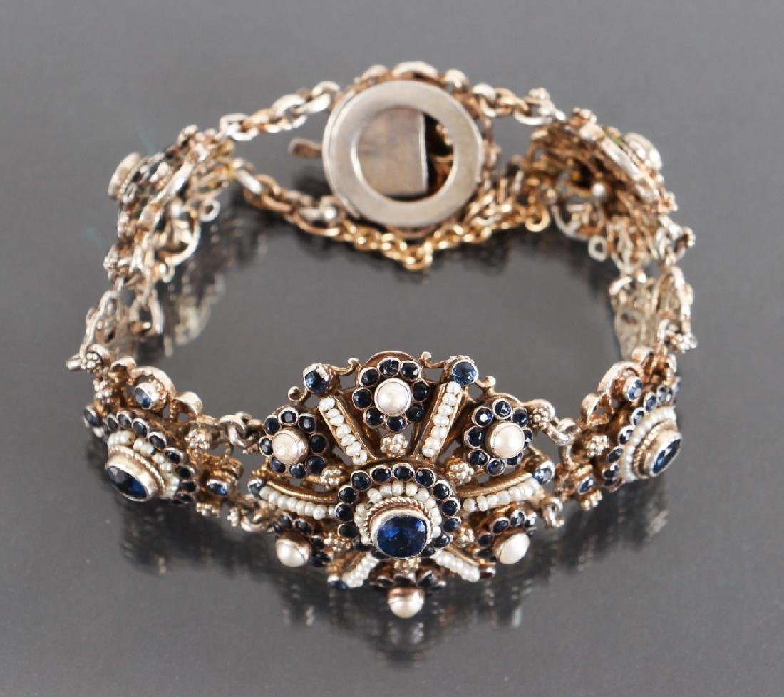 Austro Hungarian Sapphire and Pearl Bracelet - 3