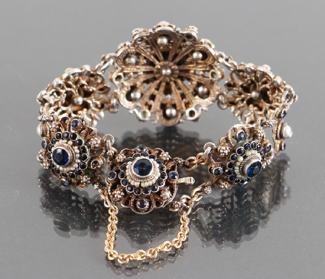 Austro Hungarian Sapphire and Pearl Bracelet - 4