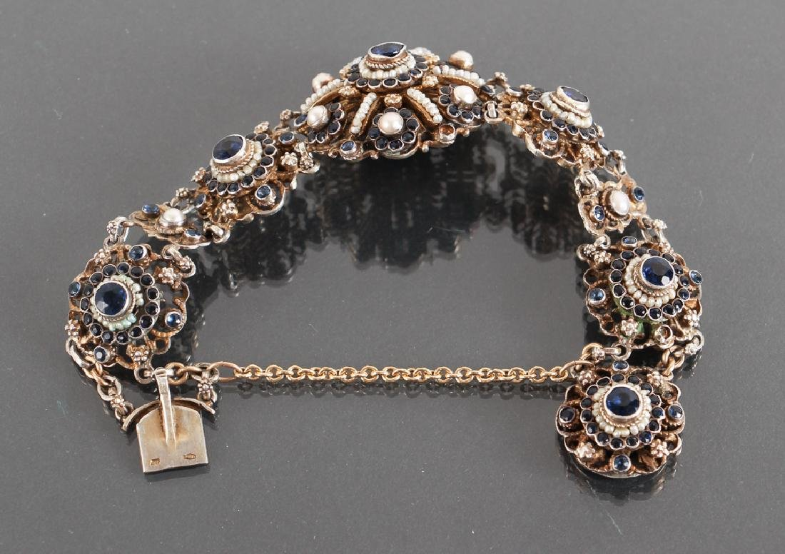 Austro Hungarian Sapphire and Pearl Bracelet - 5