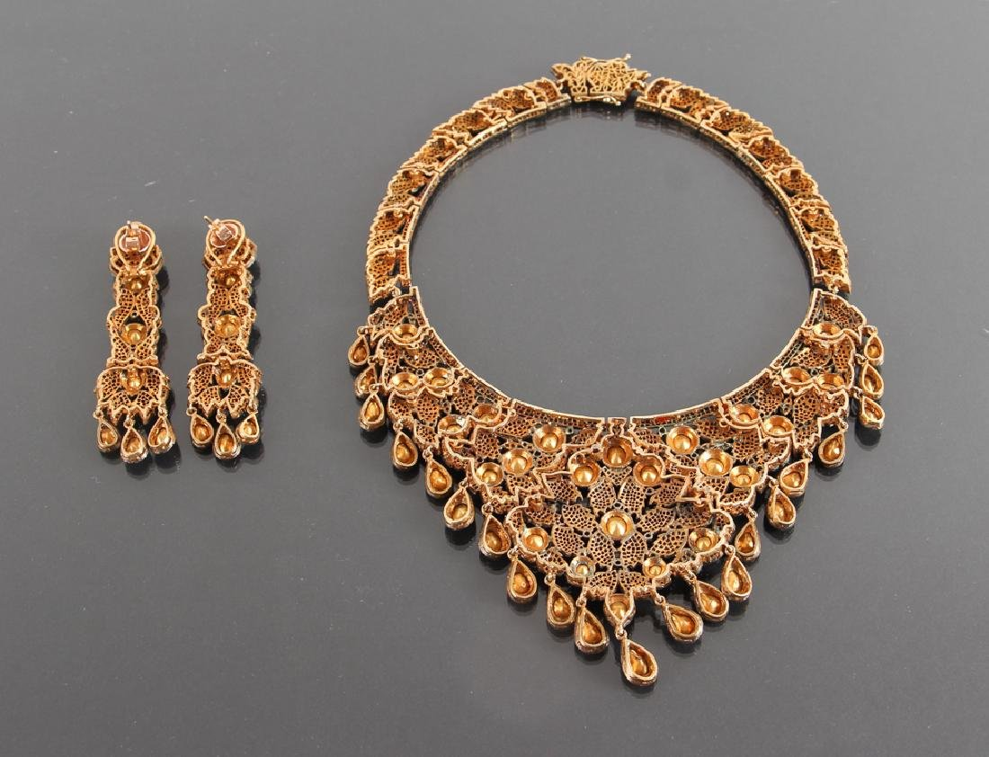 Indian Diamond Marriage Necklace and Earrings - 5