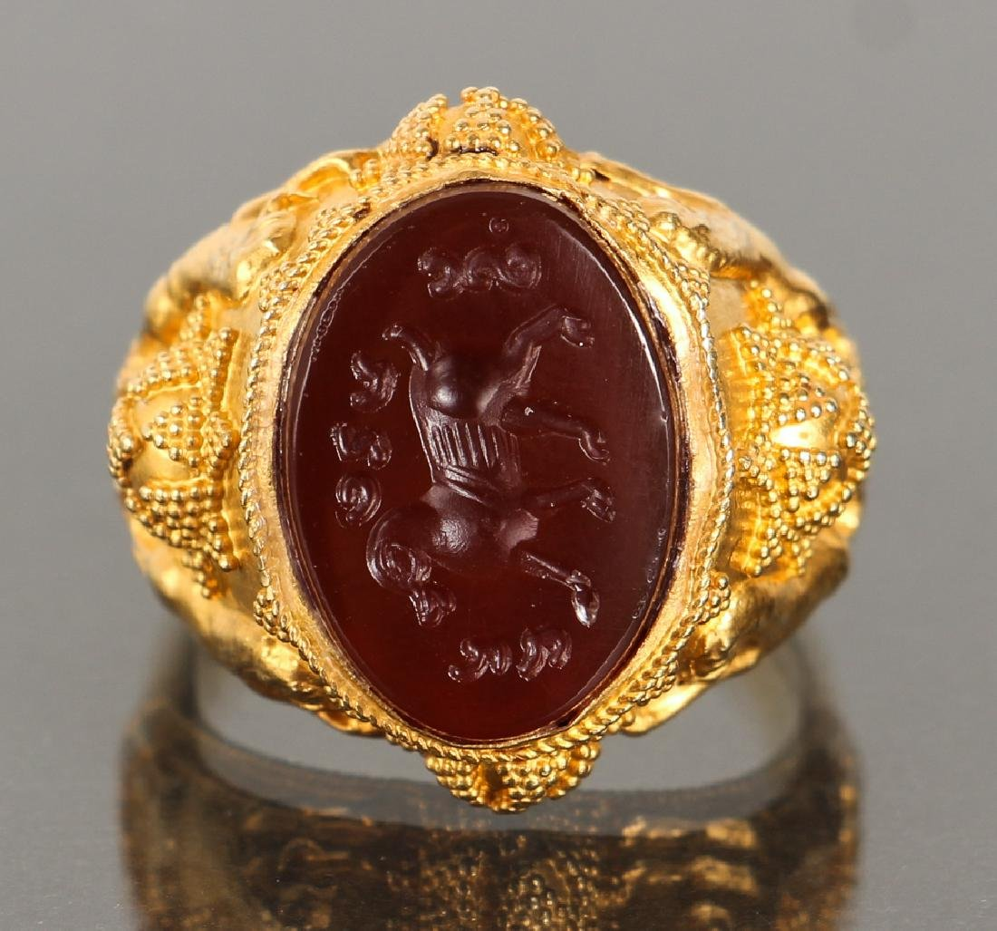 Etruscan Revival Gold and Intaglio Carved Ring