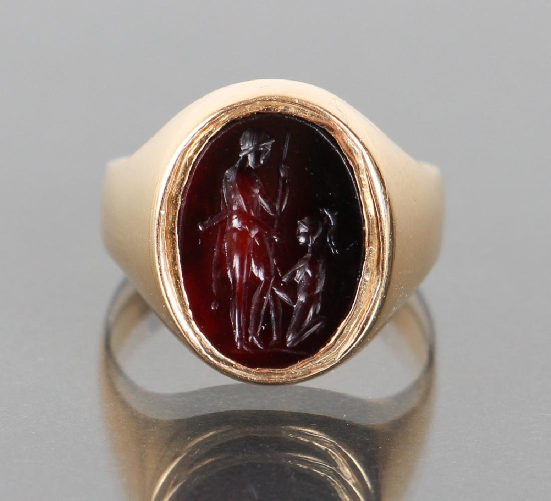 Gold Set Intaglio Carved Carnelian Ring