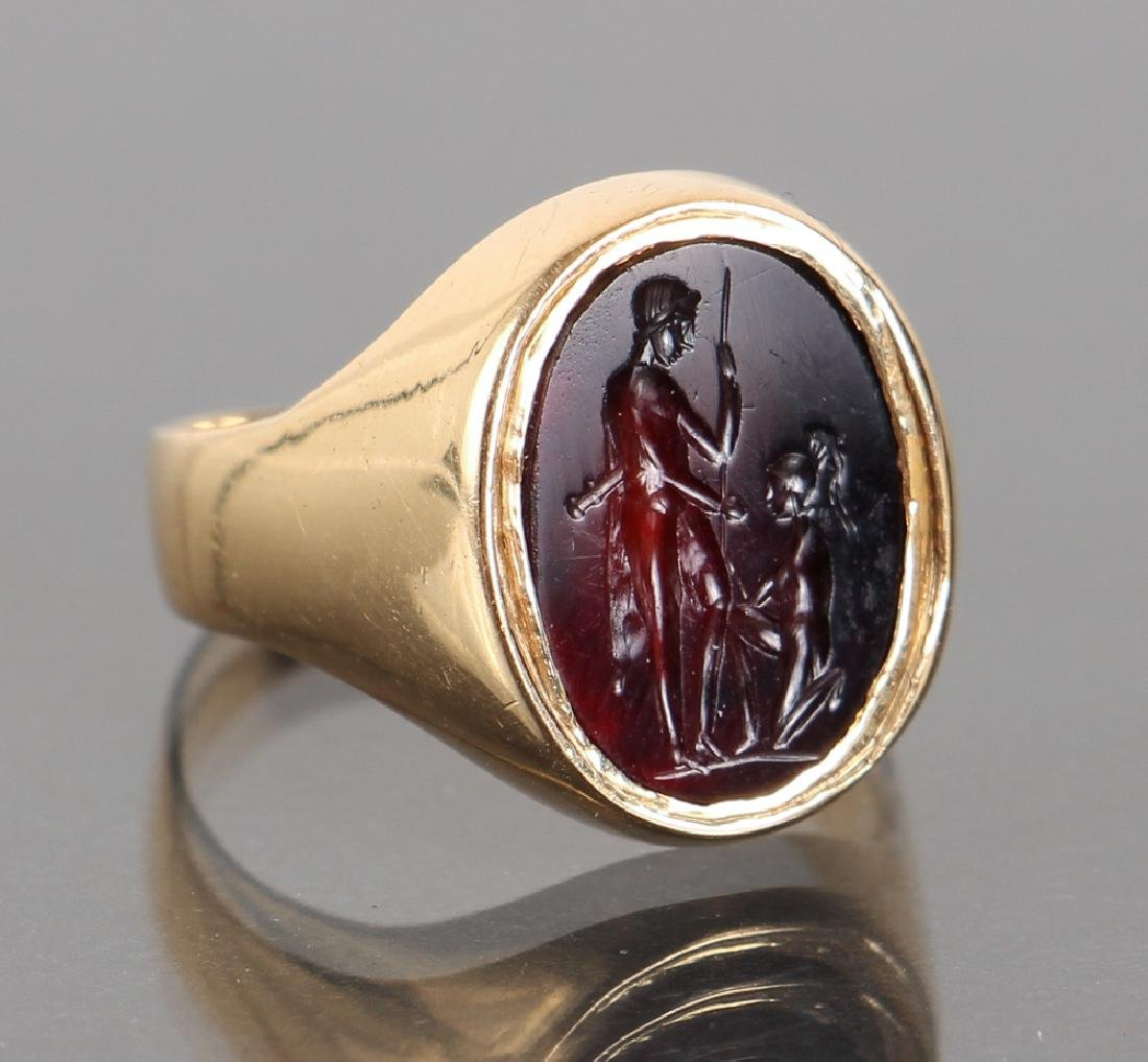 Gold Set Intaglio Carved Carnelian Ring - 2