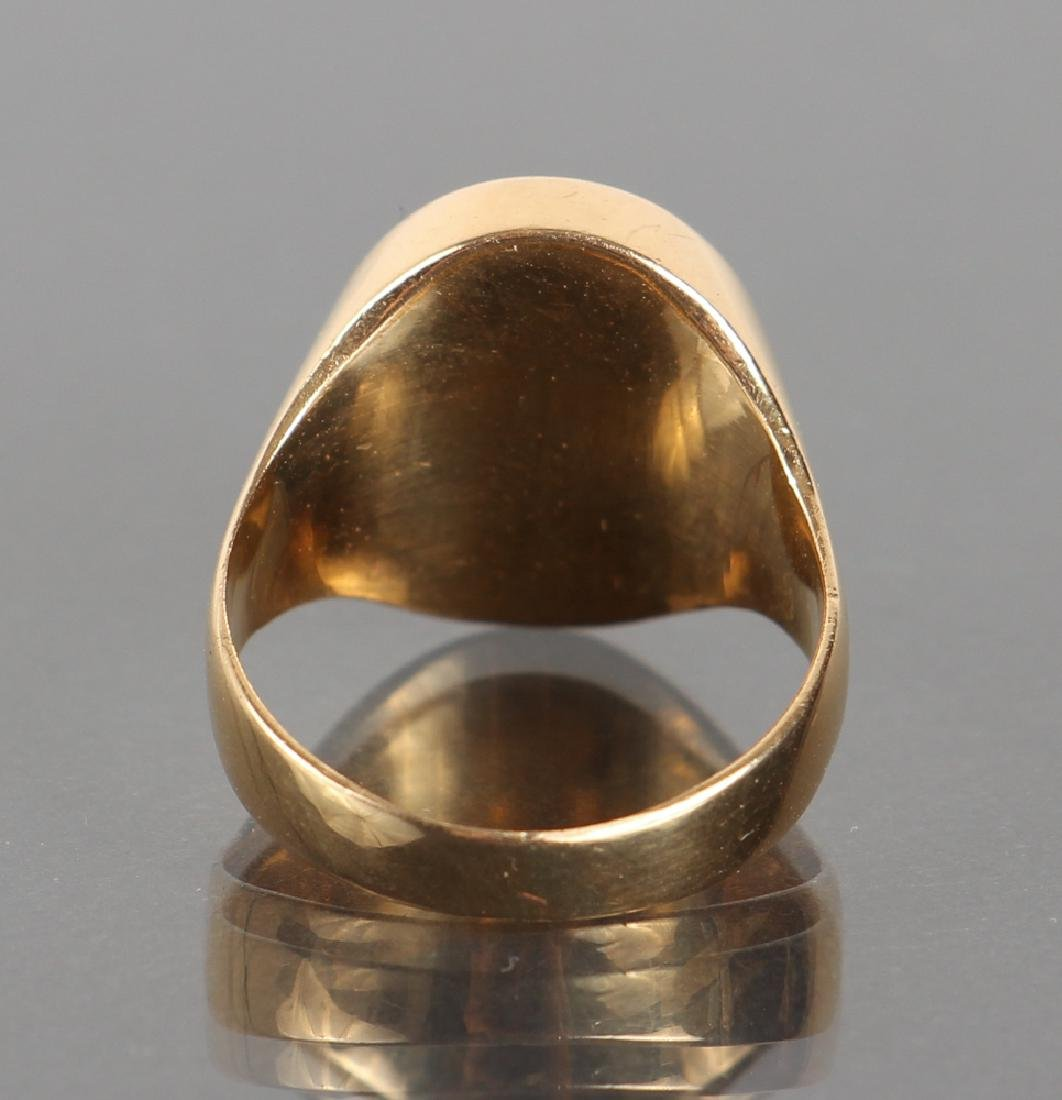 Gold Set Intaglio Carved Carnelian Ring - 4