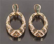 14 K Gold Emerald and Diamond Door Knocker Earrings