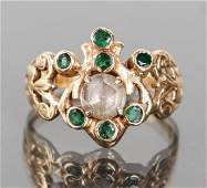Antique Victorian Mughal Style Emerald Ring