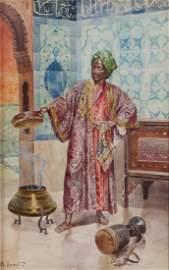 Rudolf Ernst watercolor Oriental Musician or Mystic