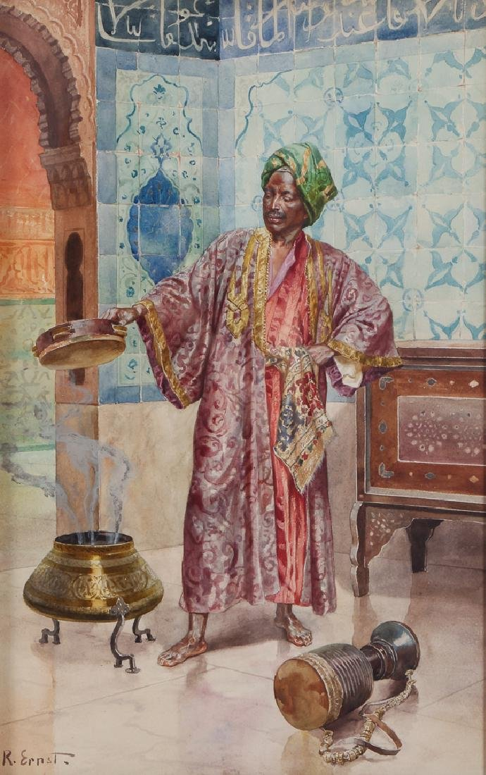 Rudolf Ernst watercolor Oriental Musician or Mystic