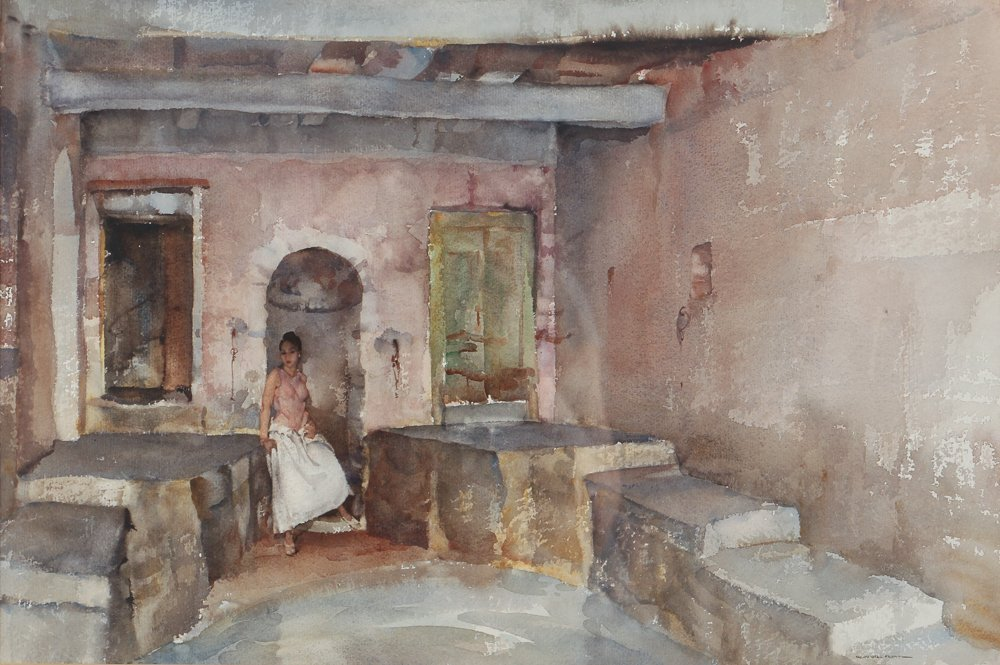 William Russell Flint wc  Myrina In Her Boathouse Niche