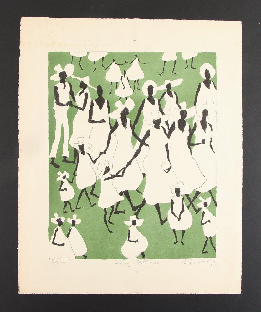 Emilio Sanchez color lithograph Sunday Afternoon