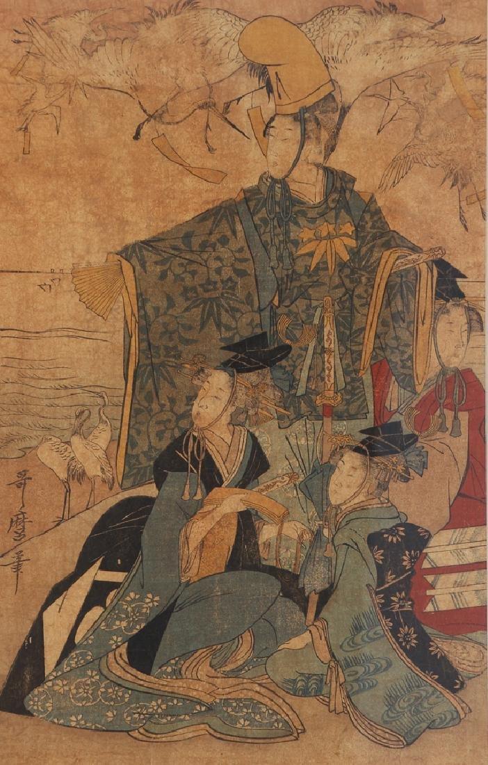 3 Vintage Japanese color woodblock prints