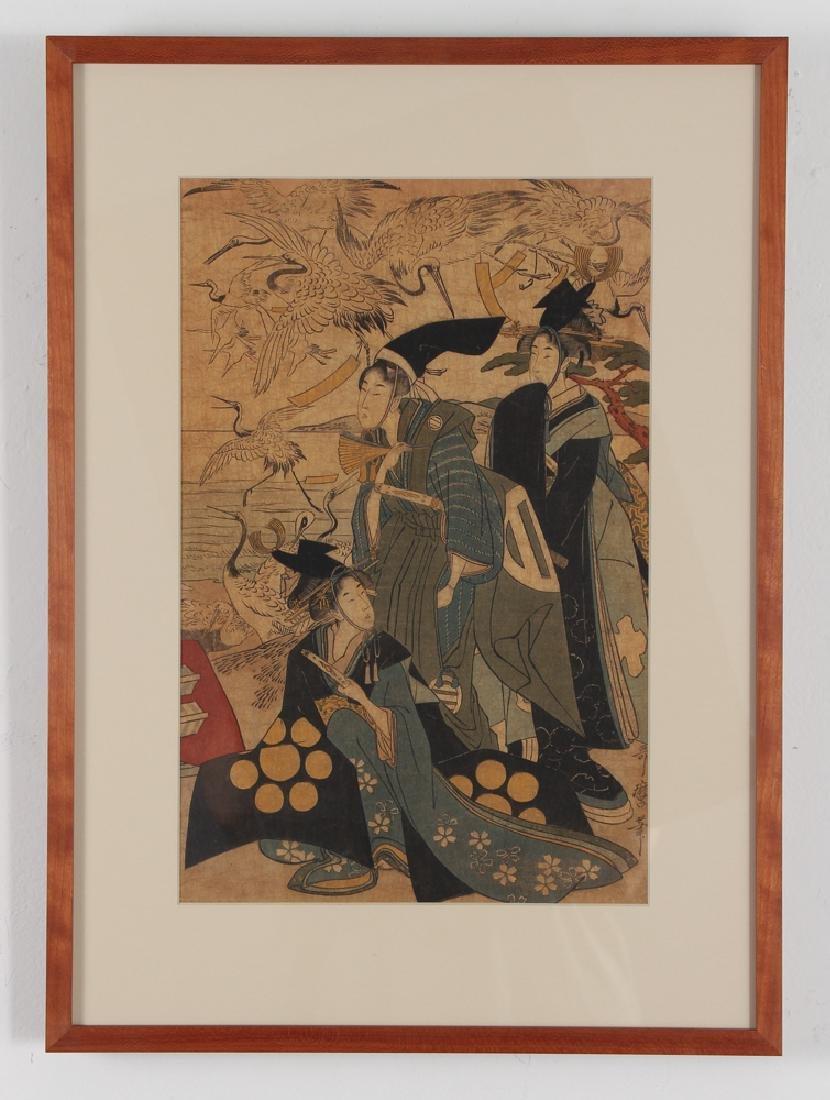3 Vintage Japanese color woodblock prints - 4
