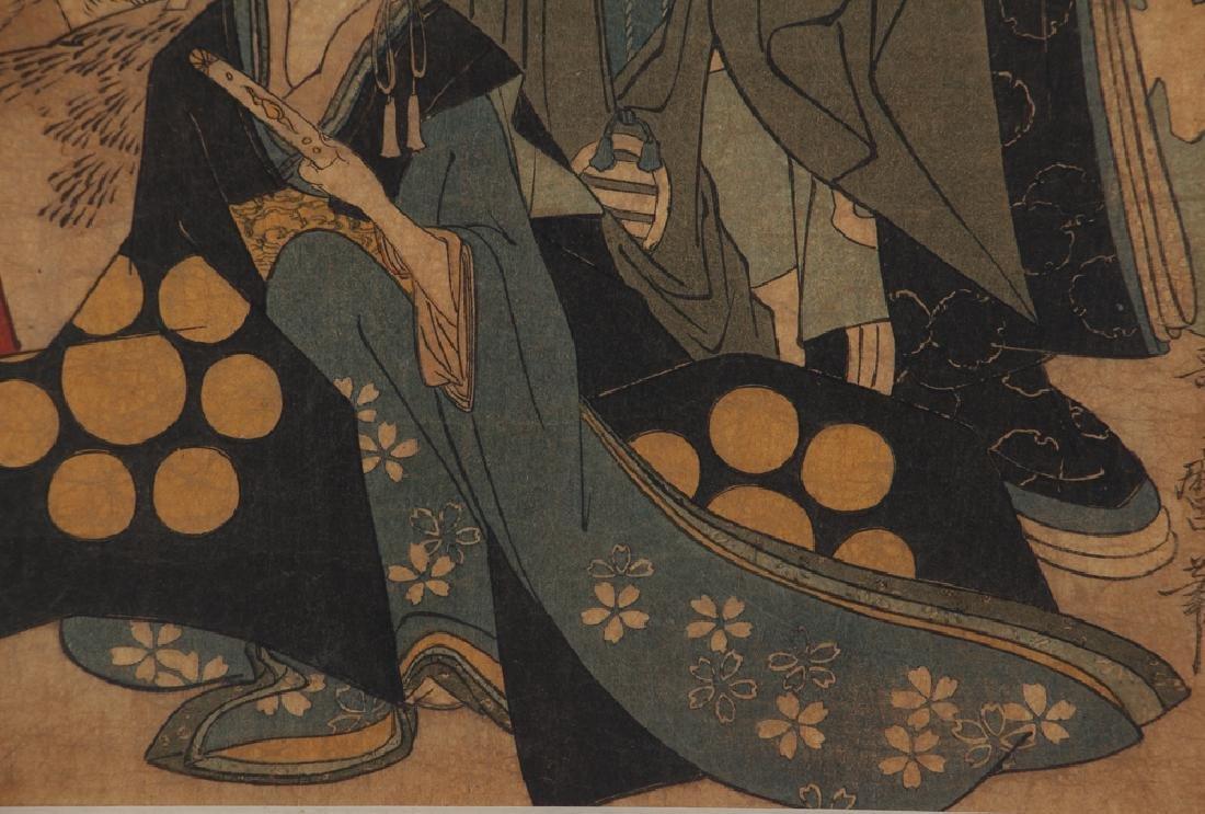 3 Vintage Japanese color woodblock prints - 6