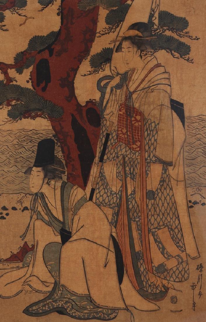 3 Vintage Japanese color woodblock prints - 8