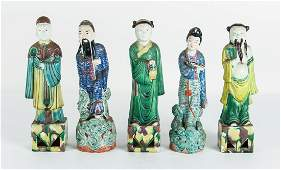Five Chinese Figures Including Famille Rose