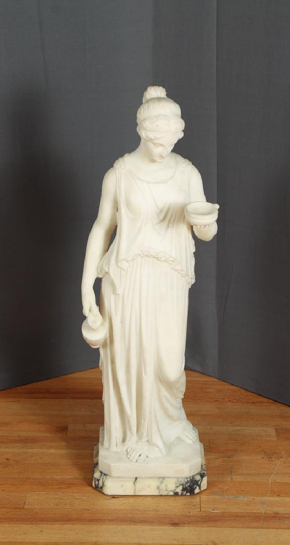 White Marble Sculpture of a Greek Maiden