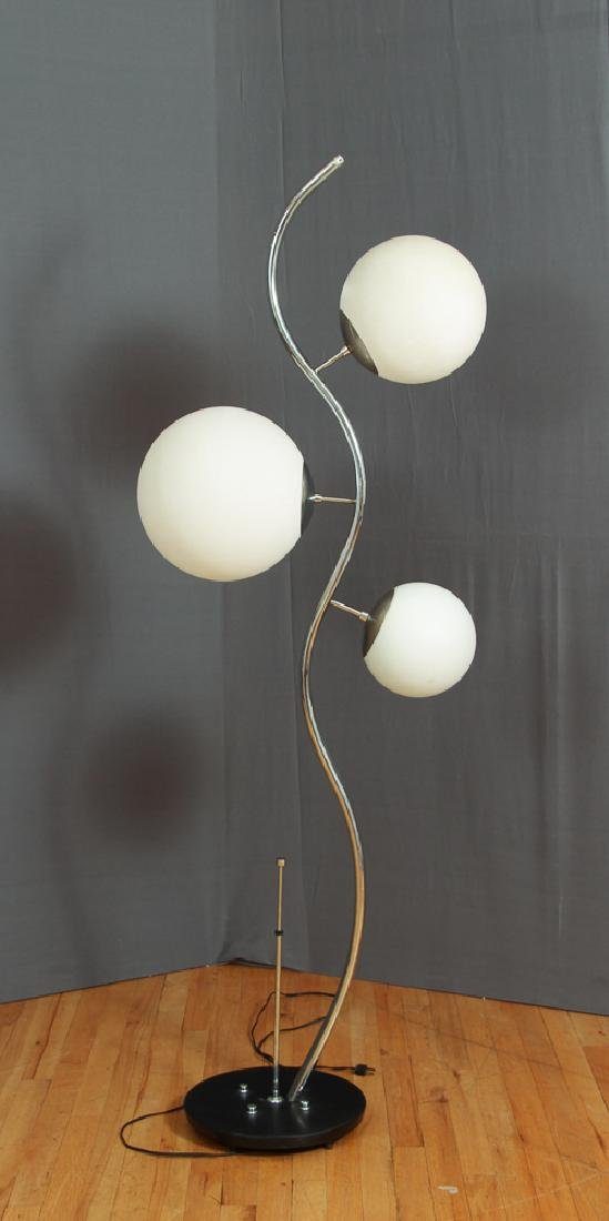 Mid Century Three Light Chrome Floor Lamp
