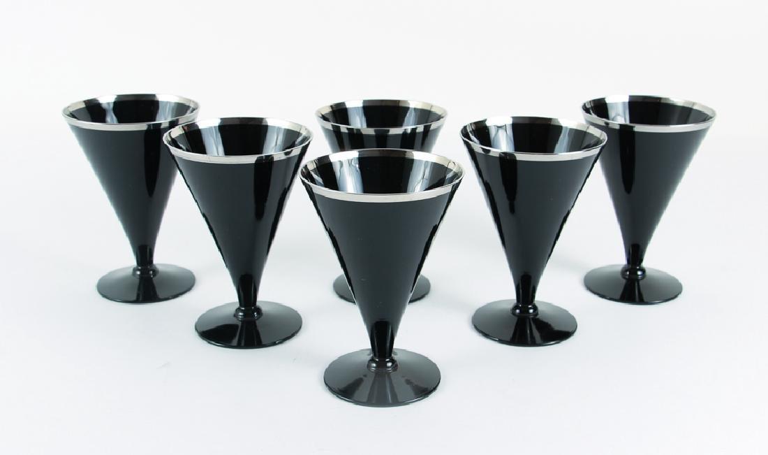 Six Black Glass and Platinum Trim Wine Glasses