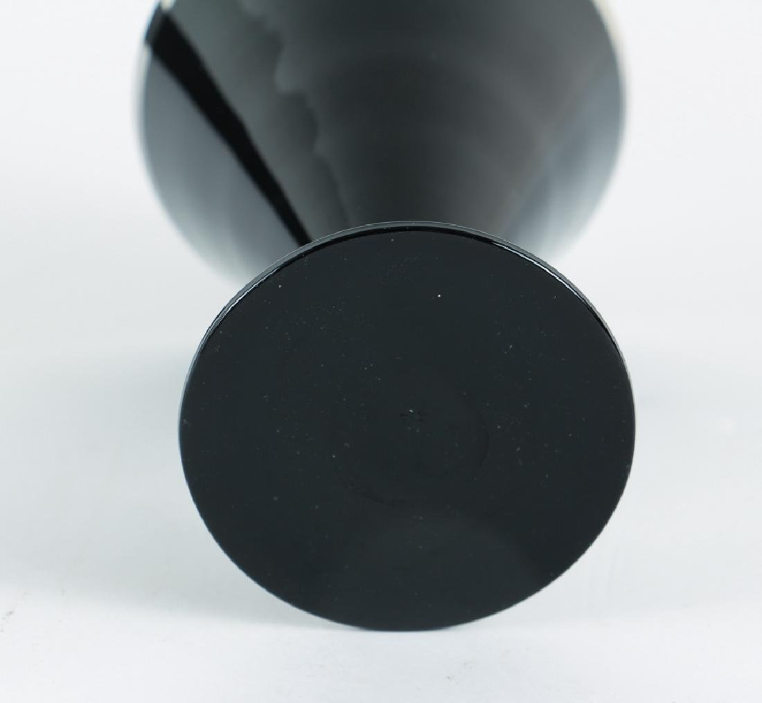 Six Black Glass and Platinum Trim Wine Glasses - 4