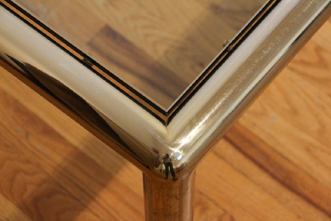Tubular Brass Vintage glass top Coffee Table - 3