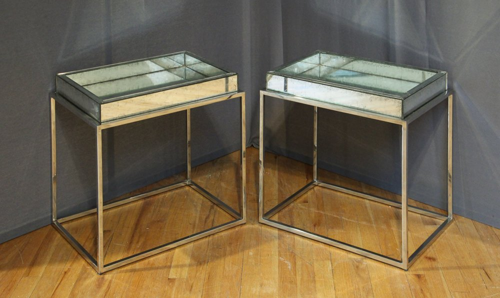 Two Contemporary Chrome and Mirror Tables